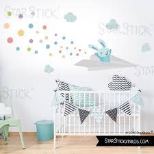 sticker mural chambre bébé sticker enfant avion lapin