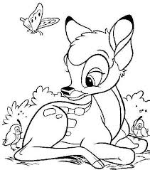 Bambi Spring Time Coloring Page