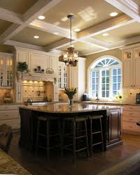 Awesome Two Story Foyer Chandelier Concrete Coffered Ceiling Kitchen Traditional With Granite Countertop Recessed Lighting Mixed
