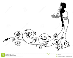 Single Bridesmaid Silhouette Clipart