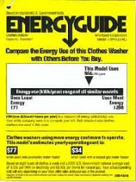 Energy Guide Washer Label