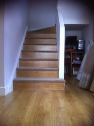 Stop Squeaky Floors From Above by Our Diy Staircase Using Leftover Laminate Flooring On The Risers