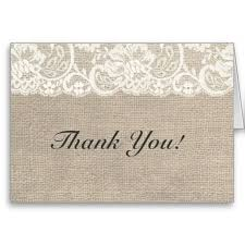 Shop Ivory Lace Burlap Rustic Wedding Thank You Card Created By ModernMatrimony