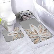 lepo s reviews badezimmerteppich set graue agave mit goldfarbenem glitzer 2 teilig badematte uförmiger wc vorleger ultraweiches flanell