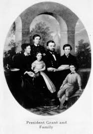 Description Photograph Reproduced On A Postcard Of Painting Depicting President Ulysses S Grant And His Family In 1869 Pictured With