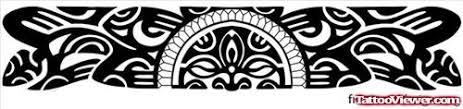 Black Ink Tribal Armband Tattoo Design