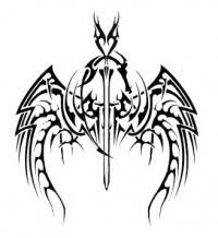 Original Black And White Big Sword With Wings Tattoo