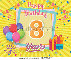 Color Full 8 Th Birthday Celebration Greeting Card Design Vector Party Poster Background With
