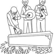 Couple Of Skeleton Dancing Funny Day Death Scene Coloring Page