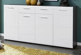 sideboard kommode weiss hochglanz grau anrichte wohnzimmer