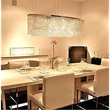 Siljoy Modern Crystal Chandelier Lighting Rectangular Oval Pendant Lights For Dining Room Kitchen Island L 374 X W 79 H 16