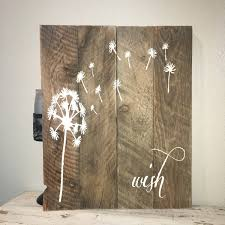 Custom Barn Wood Sign Wish Rustic Dandelion Make A