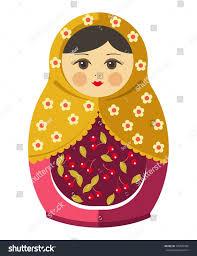 100 Matryoshka Kitchen Doll Russian Nesting Doll Ornament Stock Vector