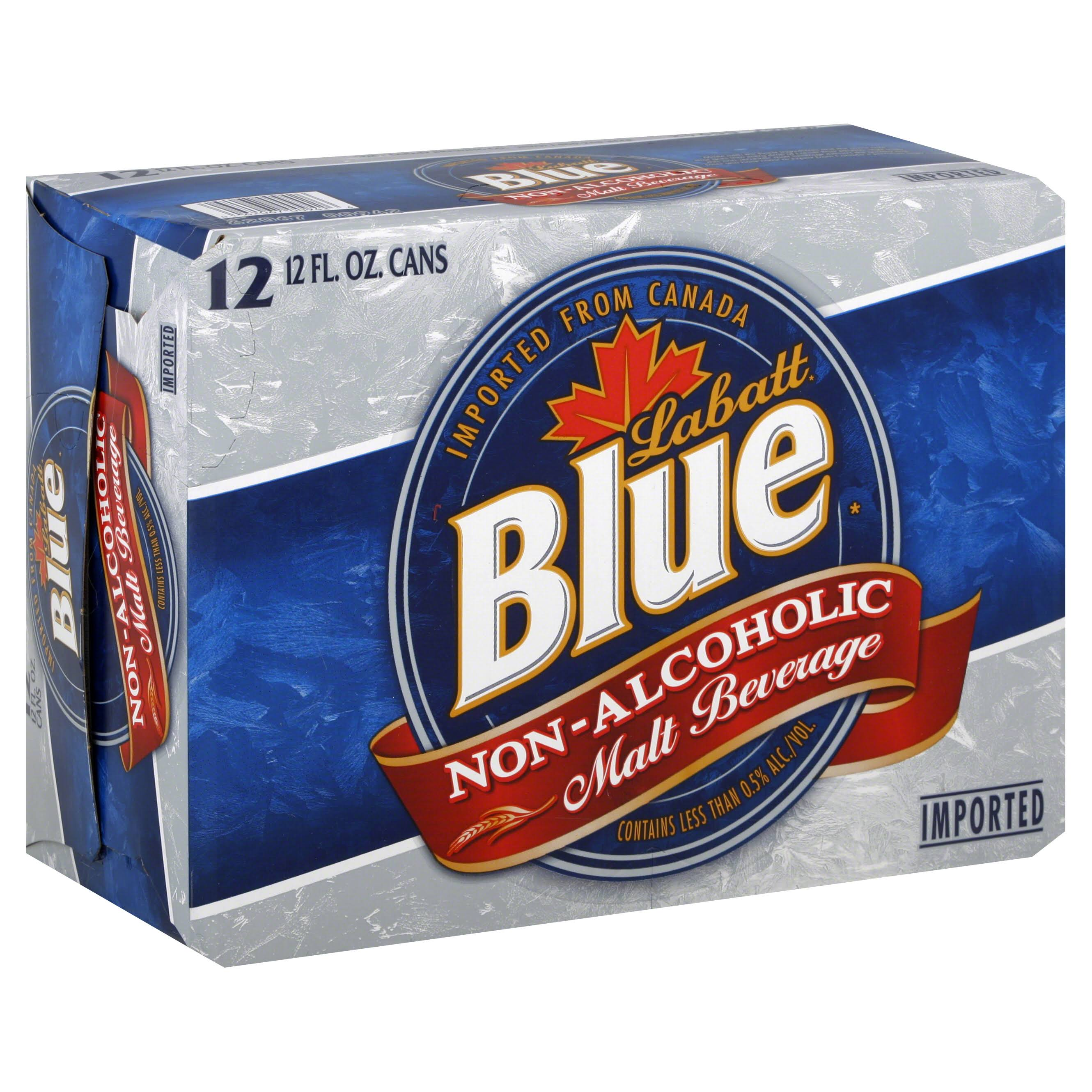 Labatt Blue Malt Beverage, Non-Alcoholic - 12 pack, 12 fl oz cans