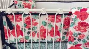 everly s garden coral and navy baby bedding by caden lane youtube