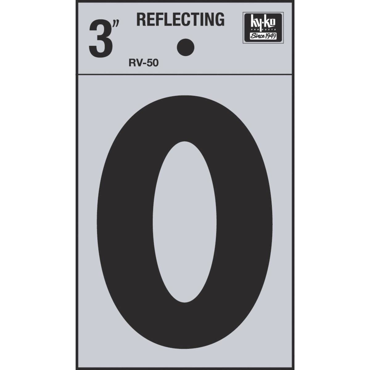 Hy-Ko Vinyl Self-Stick Reflective Number 0 - Black, 3""