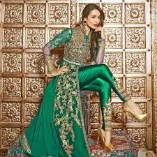 Buy Green Front Slit Pant Style Suit Online Women Ethnic Wear At