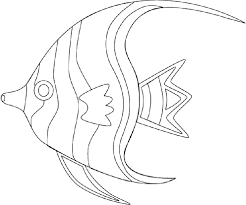 Tropical Fish Angelfish Coloring Page For Toddlers