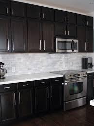 Kitchen Backsplash Dark Cabinets Birch With Shining White Quartz