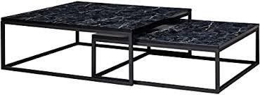 finebuy design couchtisch 2er set schwarz marmor optik eckig