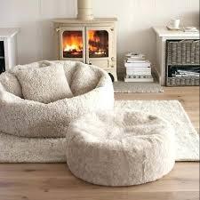 White Fur Bean Bag Chair Huge Fluffy And Ottoman Big