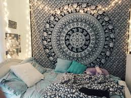 Black and White Indian Elephant Mandala Tapestry Wall Hanging