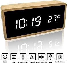 alfheim digital alarm clock wooden bamboo led light 12 24 hr desk mirror hd display clock with voice temperature usb and battery operated