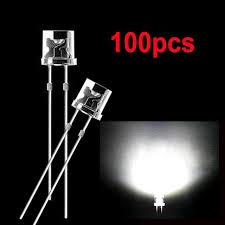 100pcs 5mm white flat top dip led diodes bright wide angle