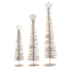 Set Of 3 Winter Light Silver Glittered Spiral Christmas Tree Lighted Table Top Decorations 24