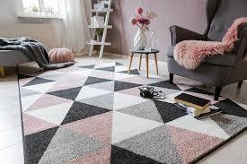 teppich kurzflor grau rosa 120 x 170 cm geometrisch muster modern wohnzimmer schlafzimmer kinderzimmer kurzflorteppich