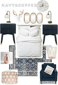 Beautiful Trendy Copper Gold Rose Chic Bedroom Blue Navy Pops Of Color