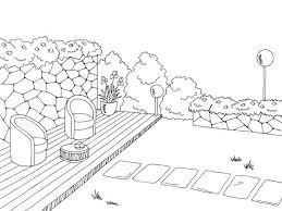 Garden graphic black white sketch illustration vector vector art illustration
