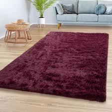 teppich wohnzimmer hochflor shaggy weich modernes einfarbiges design bordeaux rot größe 80x150 cm
