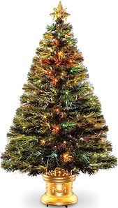 Celebrations 36 Inch LED Fiber Optic Prelit Artificial Christmas Tree In Gold Base