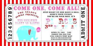Carnival Party Invitations Ticket Invitation Template Free Circus Printable Invite