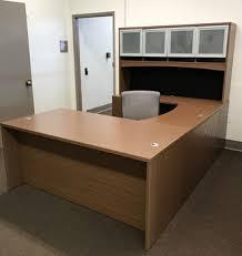 SALE U shape Laminate Desk w Hutch Storage Tri State fice