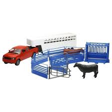 NewRay Pickup Truck With Cattle Ranch Life Playset - Farm Animals ... Newray 132 Scale Peterbilt Red Bull Ktm Race Team Truck Die Cast Newray Patriot Missiles 60 Launcher End 42520 1110 Am Newray Kawasaki Two Factory Gift Set Dc 379 Tow By New Ray Nryss12053 Toys Transporter 143 Diecast Single Dump W Wheel Loader Diecast New Ray Rch Suzuki Bevro Intertional Webshop 389 Cab Toy For Kids Youtube The Lvo Vn780 Semi With Trailer Long Hauler 14213