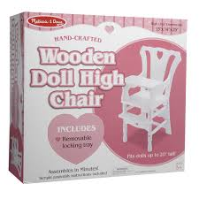 100 Wooden High Chair With Removable Tray Melissa Doug Doll With In White FREE SHIPPING