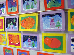 Kindergarten Display Of Collage Cats Winter Landscapes And Fall Printed Trees