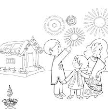 diwali celebration pages for kids clipart