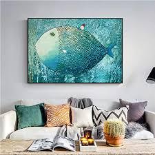 swecomze ölgemälde fisch wandbilder handgemalt auf rahmenloser leinwand vlies leinwand kunstdrucke 70 x100 cm