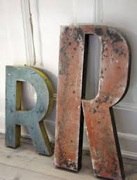 Vintage Industrial Signage Letter M Wood Ply Red & Blue from