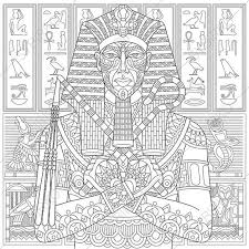Adult Coloring Pages Egyptian Pharaoh Zentangle Doodle Book For Adults Digital Illustration Instant Download Print