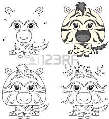 Cartoon Zebra Coloring Book And Dot To Educational Game For Kids Vector