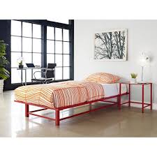 parsons twin metal ledge platform bed red walmart com