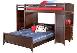 Ivy League Cherry Twin Full Step Loft Bunk with Desk Full Beds