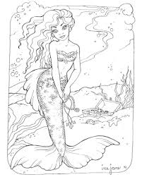 Coloring Pages Mermaids H2O Inside Mermaid For Adults
