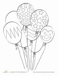 First Grade Coloring Worksheets Balloon Page