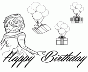 Elsa Looking At Balloons And Presents Colouring Page