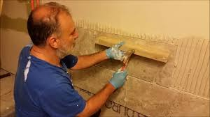 install large format tiles on bath room wall for beginner part